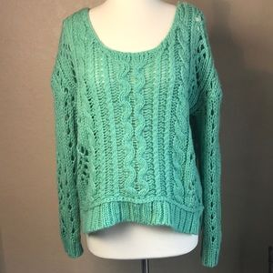 Free People Aqua Knitted Sweater